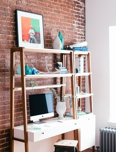 A stylish home office with storage ideas to organize a desk and office. Exposed brick walls and modern white furniture create a fresh and bright home office. Small Workspace, Desks For Small Spaces, Home Office Decor, Home Decor Bedroom, Wall Desk, Best Desk, Decorating Small Spaces, Home Interior, Interior Decorating
