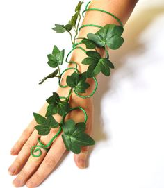 Poison ivy arm cuff slave bracelet leaves and by InMyFairyGarden