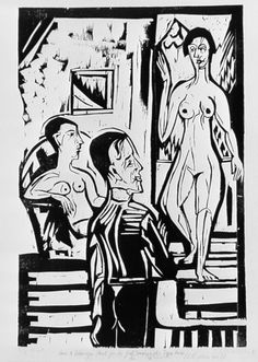 The Painter and Two Women (Der Maler und zwei Frauen), Ernst Ludwig Kirchner (Germany, Germany, Prints, Woodcut on heavy wove paper. Paula Modersohn Becker, Franz Marc, Ex Libris, Figure Painting, Painting & Drawing, Dresden, Ernst Ludwig Kirchner, Etching Prints, Expressionist Artists