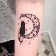 Cat & Moon Tattoo <3