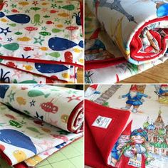 Fleece baby blanket with cotton backing. Awesome, easy project!