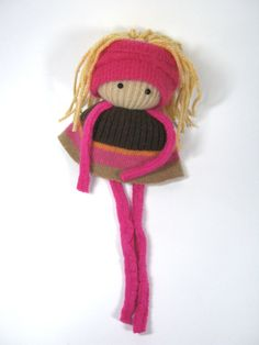 Rag doll Eco friendly toy  OOAK Felted wool Upcycled sweaters Soft scrap dolly. $10.00, via Etsy.