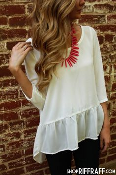 ONE NIGHT IN PARIS PEPLUM - IVORY - need this shirt + necklace!!!