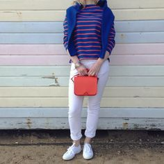 #TodayImWearing - YMC) Top, Jumper + Bag with M.i.h Jeans Jeans + Superga Trainers.   #superga #mihjeans #ymc #womenswear #denim #whitejeans #stripetop #streetstyle #southwold #aldeburgh #burnham