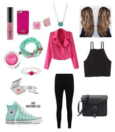 """""""Pink and blue"""" by carissacapuzzi on Polyvore featuring Betsey Johnson, BaubleBar, SonyaRenée, Converse, Kate Spade, Boohoo, MAC Cosmetics, Clinique and Jane Iredale"""