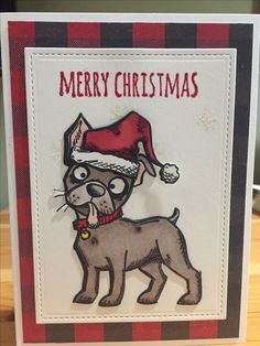 Tim Holtz Crazy Dogs stamps with Christmas accessories.