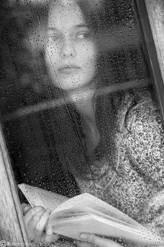 A rainy day with a book in a warm room -- Portrait - Black and White - Photography - Pose Rainy Night, Rainy Days, Rainy Sunday, Arte Yin Yang, I Love Rain, When It Rains, Just Dream, Through The Window, Dancing In The Rain