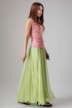 Green skirt woman chiffon skirt custom made maxi skirt by xiaolizi, $39.00