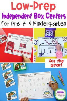 Box Centers are perfect for independent work time and are not only great for distance learning - these math and literacy activities can be a fun homework or classwork too. his growing bundle of box centers will give you Low-Prep Independent Box Centers for Pre-K & Kindergarten for the whole year! Kindergarten Literacy Activities, Literacy Games, Pre K Activities, Pre Kindergarten, Literacy Skills, Learning Centers, Literacy Centers, Digital Literacy, Eyfs