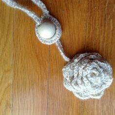 crochet necklace - wool and wood ball - handmade with love Valeria Buccheri