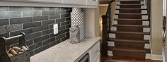 black slate backsplash tile idea
