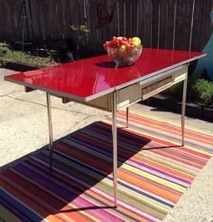 Art Deco 1930's-1940's Red Bakelite Top (Farm) Dining Table With Chrome Legs and Central Drawer