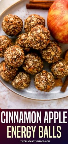 Cinnamon Apple Energy Balls-these easy no-bake energy bites are the perfect healthy snack for fall! They only take 10 minutes to make and are great for breakfast, snack time, or dessert. No Bake Energy Bites, Energy Balls, Granola Bites No Bake, Healthy Baking, Healthy Snacks, Apple Recipes, Gf Recipes, Diabetic Recipes, Baked Apple Dessert