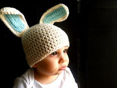 Vanilla Easter bunny crocheted hat $24