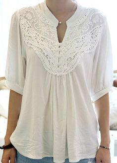 Adorable Half Sleeve Crochet Design White T Shirt