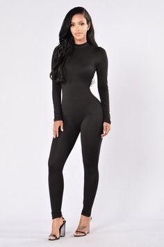 Frisky Feline Jumpsuit - Black