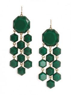 hunter green octagon chandelier earrings