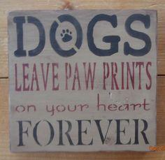 "Primitive Sign - Dogs 7.5"" x 7.5"" Distressed and Antiqued $15.00 http://www.detailsanddesignbySherri.com"