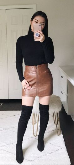 88d142c53c9  fall  outfits women s brown leather zip-up skirt. Click To Shop This