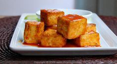 Buffalo Style Roasted Tofu! It's what's for dinner...