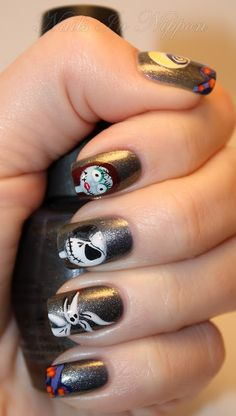 Nails In Nippon: Halloween The Nightmare Before Christmas Tutorial  Whoa.  Not only is this amazing, but all her nails look fantastic like this!