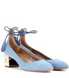 AQUAZZURA Cleopatra 50 Embellished Fabric Sandals. #aquazzura #shoes #pumps