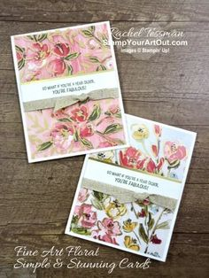 I've layered the Golden Garden Designer Acetate over the coordinating sheets of Fine Art Floral Designer Paper and then simple cut them together to get stunning backgrounds on my handmade greeting cards. Access directions, more photos, measurements, and links to all the products to you can make them, too. - Stampin' Up!® - Stamp Your Art Out! www.stampyourartout.com #stampyourartout #stampinup
