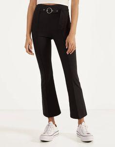 Kick Flare trousers with belt - Trousers - Bershka United Kingdom Fashion News, Latest Fashion, Young Fashion, Mode Online, Trousers, Pants, Outfit, Kicks, Belt