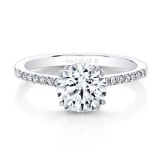 18K White Gold Split Prong Center Mounting Milgrain Gallery Engagement Ring…