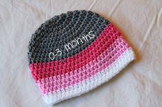 Infant Crochet Hat 0-3 months Girl's Pink Ombre by ZawiHatsAndMore