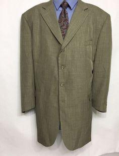 ZANDELLO Mens Taupe Striped Suit Jacket Size 50L | 4 Button Sport Coat #Zandello #FourButton