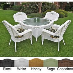 @Overstock.com - This five-piece outdoor chaise lounge set is a perfect addition to any outdoor or patio setting. This set includes four chairs and a table with a durable powder-coated aluminum frame and the stylish touch of resin wicker weave.  http://www.overstock.com/Home-Garden/Resin-Wicker-Outdoor-5-piece-Dining-Set/5983106/product.html?CID=214117 $932.99
