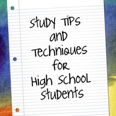 Adjust easier to high school's greater demands with this collection of study tips and techniques.