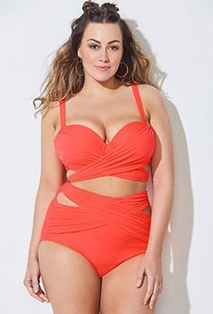 0a6d9a8ffec10 Chlorine Resistant Underwater Floral Sport One Piece Swimsuit. Plus Size  Swimsuit - Plus Size GabiFresh x Swimsuits For All Roller Coaster Orange  Underwire ...