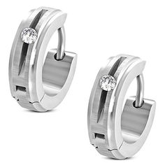 4mm  Stainless Steel Satin Finished Step Edge Hoop Huggie Earrings w Clear CZ pair  EEH139 >>> Find out more about the great product at the image link. Note:It is Affiliate Link to Amazon.