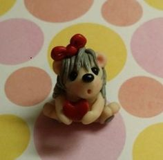 Hedgehog Little Girl Polymer Clay Figurine by Whimsybydesign1, $10.50