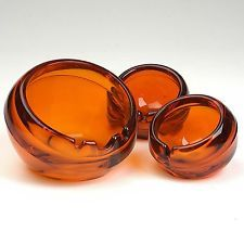 VTG 60s Set of 3 Mod Viking Glass Orb Sphere Ash Tray Orange As Seen on Mad Men