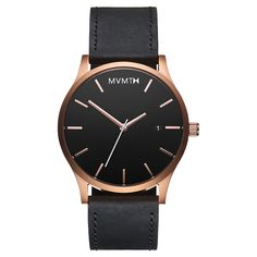 Men's Rose Gold cased Black leather watch from MVMT Watches. This Black leather version is a versatile watch, fitting in casual, formal and professional setting