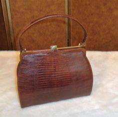 Vintage Brown Lizard Leather Hard Frame Handbag Purse #Unbranded #Frame