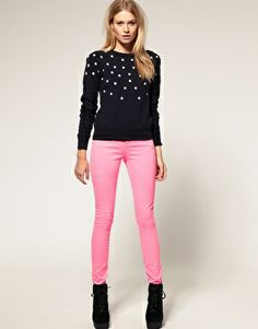 ASOS Skinny Jean in Neon Pink #4- bright pink looks spunky with black and studded separates.