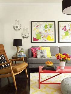 Balance bright colors with strong neutrals for a look that's colorful but livable: http://www.bhg.com/rooms/living-room/family/real-life-colorful-living-rooms/?socsrc=bhgpin092514simplicityiskey&page=4
