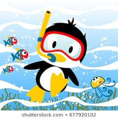 Penguins diving time with little friends, jellyfish, fishes, vector cartoon illustration Murals For Kids, Art For Kids, Penguin Videos, Summer Clipart, Clip Art, Cute Penguins, Baby Cartoon, Kids Prints, Animal Design