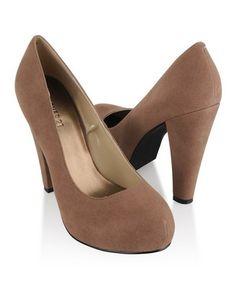 Chunky Velveteen heels in Taupe from Forever 21