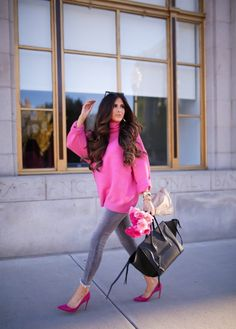 Best Summer Fashion Part 10 Pink Sweater Outfit, Hot Pink Sweater, Winter Sweater Outfits, Turtleneck Outfit, Winter Outfits, Autumn Winter Fashion, Fall Fashion, Hot Pink Fashion, Paris Fashion