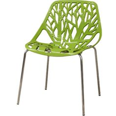 Side chair with a branching, organic-style back paired with stainless steel legs.    Product: Set of 2 chairsConstructio...