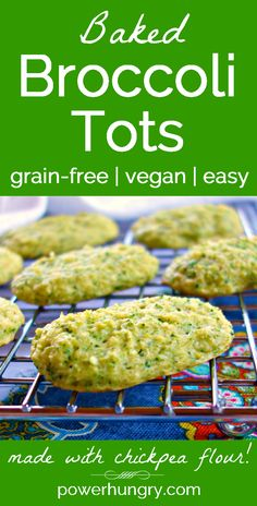 #Grainfree #Vegan Baked Broccoli Tots! Made with #chickpeaflour and only 5 ingredients , they are quick, easy, healthy and so delicious! Only 24 calories per big tot, too! #cleaneating #cleaneats #broccoli #vegetablesnack #portable #grainfreesnack #glutenfree #tots
