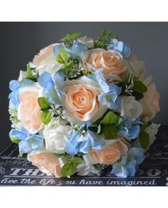 BRIDES BOUQUET - PEACH, BLUE + IVORY ROSE + HYDRANGEA BRIDAL POSY- READY TO SHIP UNIQUE ONE OFF