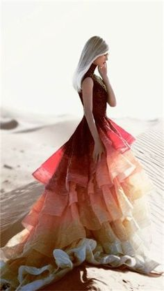 High Low Prom Dresses 2018 Not in love with the style, but love the color gradient. Could do that on a full length tulle skirt.