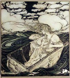 Danaë  And Her Son Perseus ~ Arthur Rackham 1903