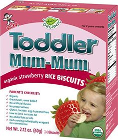 HotKid Toddler MumMum Strawberry Flavor Organic Rice Biscuit 24pieces 60 g Pack of 6 * Click on the image for additional details.